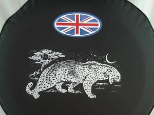 "Sparecover® Brawny Series Leopard 30"" Union Jack Black Denim Vinyl Tire Cover"