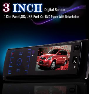 "Anti Theft HD Detachable LCD 3"" Car Stereo DVD Player 1 DIN CD Radio Free Camera"