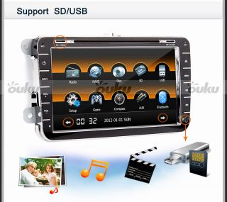 Volkswagen VW 8 Car GPS Navigation DVD Radio Player iPod SWC BT Touch Screen