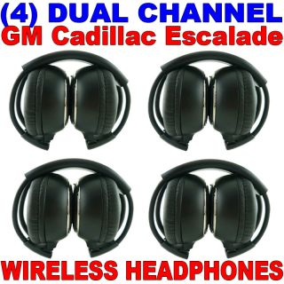 4 New GM Cadillac Escalade Wireless Dual Channel DVD Premium Car Headphones