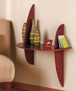 Walnut Circular Wall Mounted Table Display Shelf Hanging Pictures Flowers Books