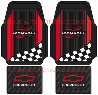 4pc Chevrolet Chevy Red Bowtie Racing Style Black Rubber Floor Mats Made in USA