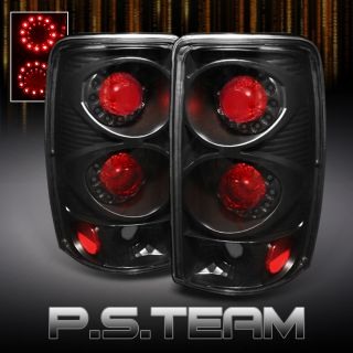 00 06 Chevy GMC Suburban Tahoe Yukon Denali Black LED Ring Tail Lights Lamp Pair