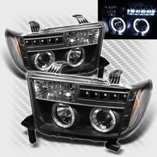 2007 2013 Toyota Tundra Twin Halo LED Projector Headlights Black Head Lights Set