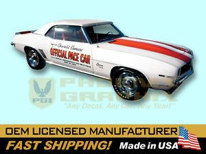 1969 Chevrolet Camaro Indy 500 Pace Car Decals Stripes Kit