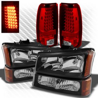 03 06 Silverado Black Headlights Set Red Clear Philips LED Perform Tail Lights