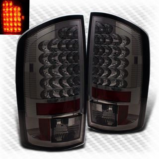 Smoked 07 08 Dodge RAM LED Tail Lights Rear Brake Smoke Lamp Pair Taillights Set