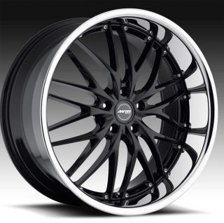 "22"" MRR GT1 Wheels Black BMW 7 Series 745 750 E65 E66 Staggered Mesh Lip GT 1"
