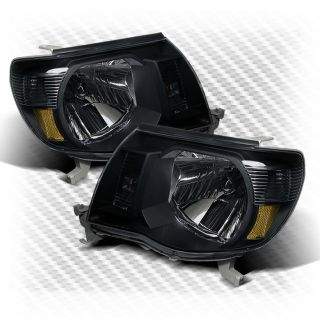 2005 2011 Toyota Tacoma Amber Headlights Black Head Lights Pair Lamp Set