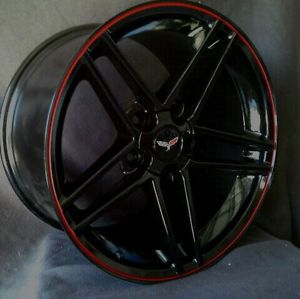 "Corvette Wheels 18 19"" Black with Red Lip Z06 Style Fits C5 C6"