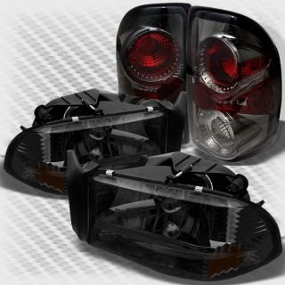 Smoked 97 04 Dodge Dakota Headlights Tail Lights Lamp Pair New Set Head Light