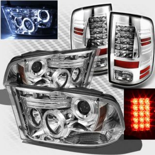 2009 2013 Dodge RAM Twin Halo LED Projector Headlights LED Tail Lamp Lights Set