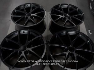 "18 19"" Matte Black Spdyer Style Corvette Wheels Fits ZO6 Z06 Grand Sport"