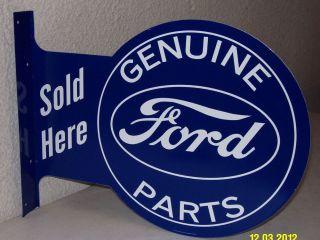 Genuine Ford Parts Sold Here Flange Tin Sign Blue Oval Fairlane Mustang Torino