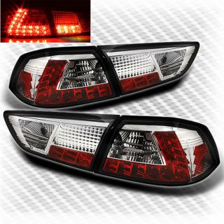2008 2012 Mitsubishi Lancer EVO x 10 LED Tail Lights Rear Brake Lamp Pair Set