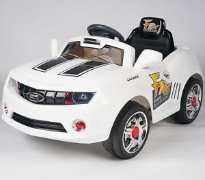 Kids White Camaro Style Ride on Car Remote Control Electric Powered Wheels