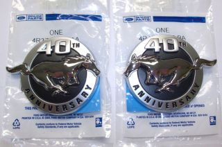 2004 Mustang Genuine Ford Parts 40th Anniversary Fender Emblems Pair 2 PC