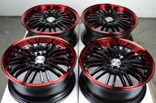16 5x114 3 5x100 Black Effect Wheels Red CL Civic Accord Sebring Cobalt RSX Rims
