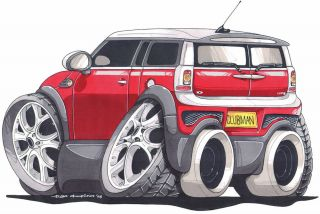 Mini Cooper Clubman Cartoon Printed T Shirt 2383 More Colors Available