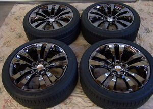 "New Factory 2013 20"" Dodge SRT Challenger Charger Black Chrome Wheels Rims Tires"