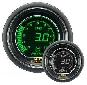 Auto Gauge EVO 52 mm Green White Digital Oil Pressure Gauge with Sensor