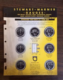 1949 Vintage Stewart Warner Automotive Gauges Catalog Brochure