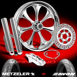 "Atomic Chrome 21"" Front Wheel Tire Single Disk Kit for 2000 13 Harley Touring"