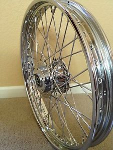 Harley 21 inch Chrome 40 Spoke Front Wheel 1973 1984 FL Custom Chopper Bobber