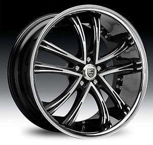 "20"" 22"" 24"" 26"" 28"" 30"" Lexani LSS55 Black Chrome Wheels Cadillac Escalade"