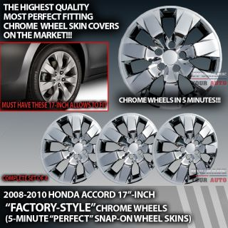 "2008 2009 2010 Honda Accord Chrome Wheels 17"" Covers"