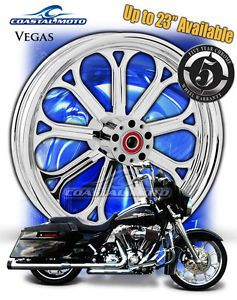"Coastal Moto Vegas Chrome Motorcycle Wheel 21"" Harley Front Wheel w Tire PM"