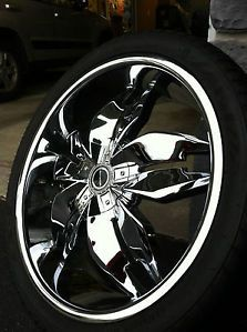 "22"" Strada Forchetta Chrome Rims Tires 4"