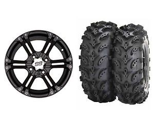 "ITP SS212 14"" Black UTV Wheels on Swamp Lite 28"" Tires Yamaha Rhino IRS"