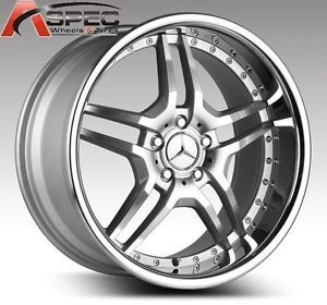 "19"" Staggered Euromag EM2 Silver Machined Chrome Lip 5x112 45 48 Mercedes Wheel"