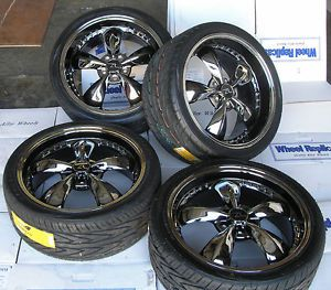 "Black Chrome Mustang Bullitt Wheels 20x8 5 10"" 20 inch Tires 2005 Rims Dish"