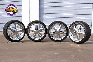"22"" Chrome Milanni Wheels Set of 4 Like New Falken Ziex Tires for Chevy GM"