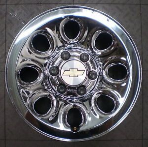 "8069 Chevy Silverado 1500 17"" Factory OE Chrome Clad Steel Wheels Rims Chevrolet"