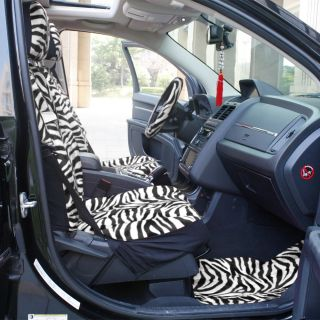 9 PC Zebra White Black Front Bucket Car Seat Cover Set Wheel Belt Pad Head Rest