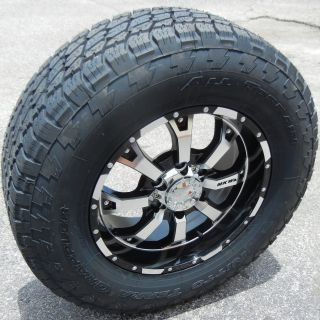"17"" Black MKW Wheels Rims Nitto Terra Grappler Tires Silverado GMC Sierra Tacoma"