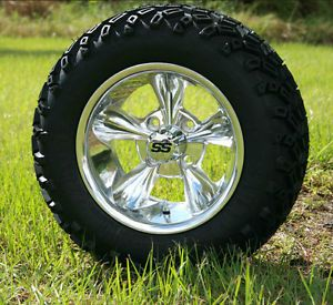 New 12x7 Polished Godfather Golf Cart Wheels and All Terrain Tires