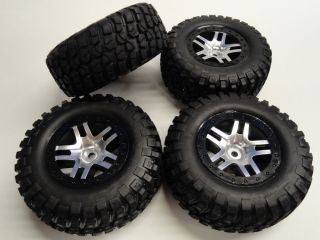 Traxxas Slash 4x4 Silver Wheels Black Beadlocks Front Rear Wheels Tires