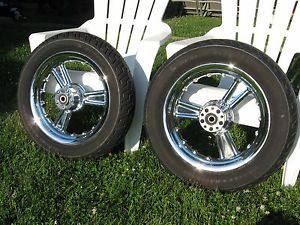 Original Harley Davidson Chrome Detonator Wheels with Dunlop Tires