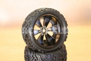 1 8 Monster Truck Rock Crawler Wheels Tires 17mm Traxxas Black Chrome New
