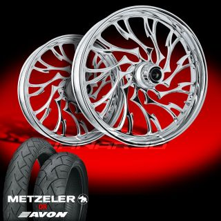 Alien Chrome Front and Rear Wheels and Tires for 1990 2006 Harley Fat Boy