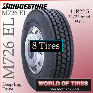 8 Tires Bridgestone M726 El 11R22 5 Semi Truck Tire 11225 11 225 11R225