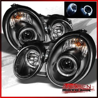 98 02 Mercedes Benz W208 CLK Black Halo Projector Head Lights Front Lamp Upgrade