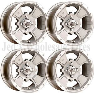 4 Black Rock Intruder Silver 12x7 2 5 4ON4 4 4 Aluminum Golf Cart Rims Wheels