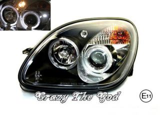 R170 1997 2000 97 00 SLK LED Angel Eye Projector Headlight Black Mercedes Benz