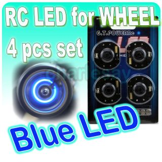 RC Car Truck Buggy Wheel LED Kit Eletric Blue Light Cool 4 Pcs Set