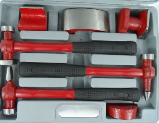 7pc Fiberglass Auto Body Repair Tools Fender Tool Set Hammer Dolly Dent Bender